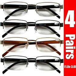 4 Pairs Mens Womens Metal Half Frame Rimless Rectangular Reading Reader Glasses $12.99