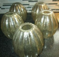 5 VINTAGE clear gold speckled glass chandelier shades globes 1 5 8 in fit $44.99