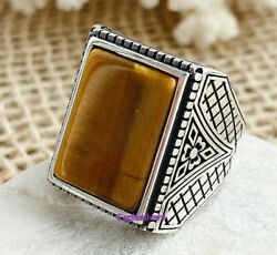 Handmade Luxury Design Tiger Eyes Stone 925 Silver Men's Woman's Ring All sizes $38.00