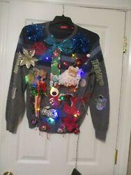 Ugly Christmas sweater Mens unisex Sweater Large Lights up Ugly sweater parties