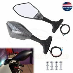 Motorcycle LED Turn Signal Integrated Mirrors For Yamaha YZF 600 R6 Racing Black