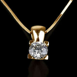 LADIES 2.5 CT ROUND CUT DIAMOND PENDANT AND YELLOW GOLD NECKLACE CHAIN SET