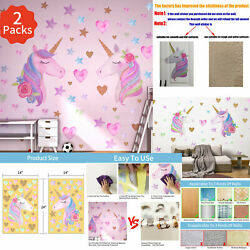 2 Sheets Large Size Unicorn Wall Stickers Decor Removable Decals Gilrs Bedroom $14.59