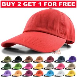 Baseball Cap Ball Dad Hat Adjustable Plain Solid Cotton Polo Washed Mens Womens $6.97