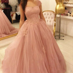 Blush Quinceanera Ball Dresses Lace Appliques Sweet 16 Prom Party Princess Gowns
