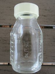 Vintage Pyrex Evenflo 4 Ounce Glass Baby Bottle Black Pyramid Made in USA $6.00