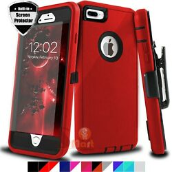For iPhone 6 6s 7 8 Plus Shockproof Case Cover With Belt Clip + Screen Protector $9.99