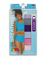 Fruit of the Loom Women's 6 Pack Breathable Cotton Mesh Briefs Size 10 Assorted  $14.99
