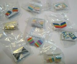 Lot of 10 Gay Pride VINTAGE Rainbows Pierced Earrings Mod Style NOS Triangles $40.45
