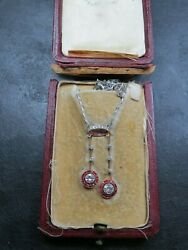 FINE ART DECO 18ct GOLD & PLATINUM DIAMOND & RUBY PENDANT Original Box C.1920