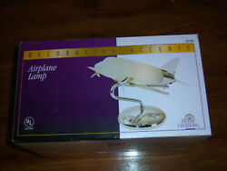 NEW DECORATIVE ACCENTS HOME CREATIONS DECORATIVE ACCENTS STAINLESS AIRPLANE LAMP $64.99