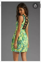 nanette lepore dress 6 Tec Porcelian Runway Lime Floral