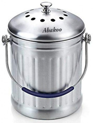 Abakoo Compost Bin 1.8 Gallon Stainless Steel 304 Kitchen Composter Charcoal $48.99
