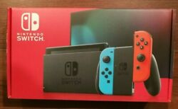 New Version Nintendo Switch 32GB Console w Neon Blue amp; Neon Red Joy Con HAC 001 $373.88