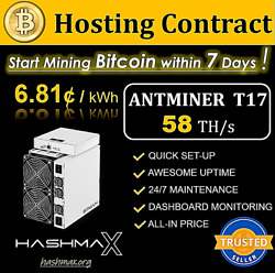 Antminer T17+ 58T & PSU 🔥 30-Day Hosting 👍 Bitcoin BTC Mining