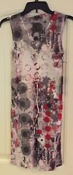 NWT Komarov Designer cocktail maxi mini Dress Medium v neck crinkle red rouge