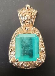 Vintage 17.00 ct Natural Emerald 14K yellow gold pendant GIA Report