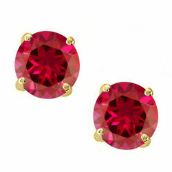 14K Solid Yellow Gold Red Ruby Round Shape w Screw Back Stud Earrings  $258.98