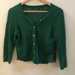 Knitted & Knotted Anthropologie Afterword Lace Cardigan Floral Green Frayed Hem $31.00