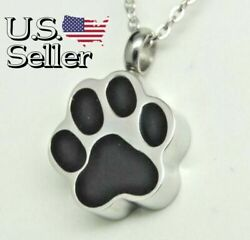 Pet Cremation Jewelry Black Paw Dog or Cat Ashes Holder Necklace Engraveable