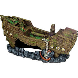 Blue Ribbon Pet Gray Exotic Environments Jumbo Shipwreck Jumbo 030157007898