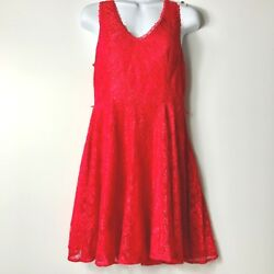 Express Women Red Lace Overlay Trim Dress Size 6 Sleeveless Fit Flare Party Prom $11.78