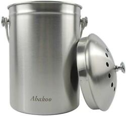 Abakoo Compost Bin 304 Stainless Steel Kitchen Composter Waste Pail Indoor Count $38.99