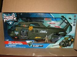 Hero Force Electronic Lights amp; Sound Troop Transport Attack Helicopter Large New $55.00