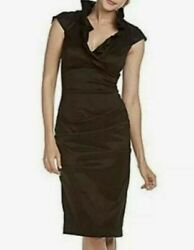 NWT Xscape Taffeta Cap Sleeve Black Cocktail Dress Size 16 W $89.00