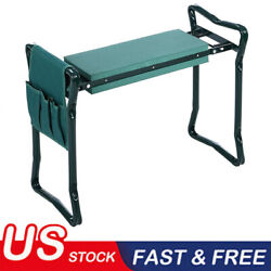 Hot Foldable Kneeler Garden Bench Stool Soft Seat Pad Kneeling w/ Tool Pouch BL $27.99