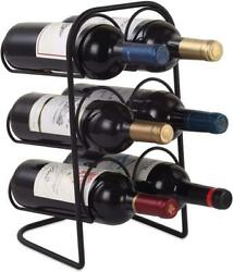 Buruis Metal Curved Wine Rack Modern Countertop Wine Holder Stand for Red Whi $30.99