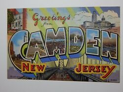 Vintage 1940s GREETINGS FROM CAMDEN New Jersey Large Letters Postcard $4.00