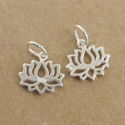 2PCS 925 Sterling Silver Tiny Lotus Dangle Charm DIY New X2161-2PCS US Warehouse $9.99