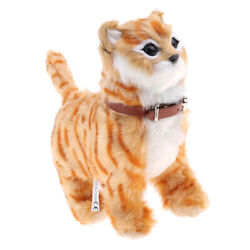 Electronic Plush Pet Cat Toys for Kids Boys and Girls Gifts 22x21cm Yellow $18.34