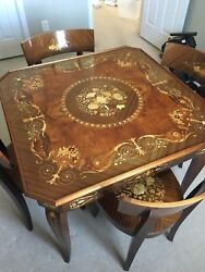 Notturno inlaid wood game table 4 chairs included good condition Made in Italy  $4,500.00