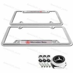 2pcs MERCEDES-BENZ 2018 2019 Silver license plate frame Stainless W Screw Set $29.99