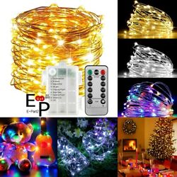 50 100 LEDs Battery Operated Mini LED Copper Wire String Fairy Lights W Remote $9.99