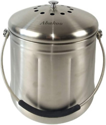 Abakoo Compost Bin 304 Stainless Steel Kitchen Composter Waste Pail Indoor Count $45.99