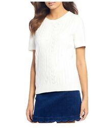 Draper James Textured Short Sleeve Sweater White Small $88 New Shirt Top $21.00