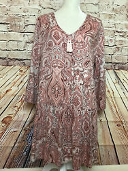 Lucky Brand Women#x27;s Top Peasant Blouse Size Medium Boho Pink Rose Tassels V Neck $19.99