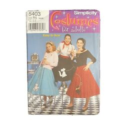 Simplicity Costumes For Adults 5403 Poodle Skirts Size 14 22 Easy to Sew $10.00