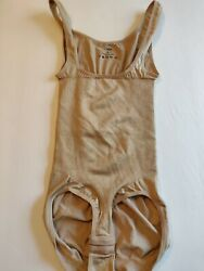 Belvia Women's one piece shapewear size S tan color stretch hook and loop NWOT $12.95