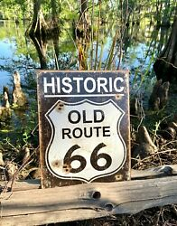 Old Route 66 Weathered Vintage Metal Tin Sign Wall Decor Garage Man Cave Bar Art $17.73