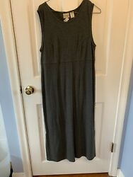 LL Bean Charcoal Gray Maxi Dress with Side Slits Petite S NWT $15.95
