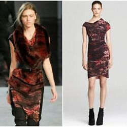 HELMUT LANG *STUNNING* RED MIDNIGHT FLORAL RUNWAY DRESS 2 XS RARE