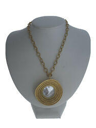 Carrera 18K Yellow Gold & Mother Of Pearl Ruedo Maxi Pendant Necklace 123.8g