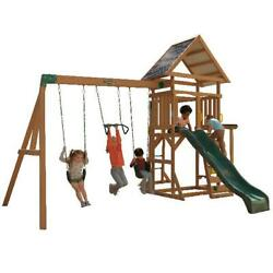 Wooden Swing Set Cedar Wood Outdoor Backyard Playset Kids Play Slide Playground