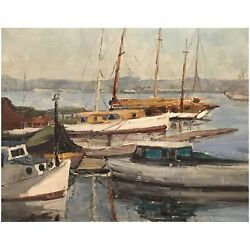 Mary Suehanna Darter Coleman Oil Painting of a Harbor View with Boats $2800.00