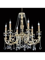 Chandelier Classic Brass Leaf Silver And Crystal Tp 136-LA-6-03