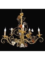 Chandelier Classic Gold Glass Of Murano Crystal Of Swarovski Tp 175-LA-8-01